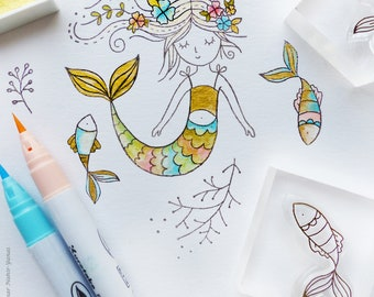 Effacer jeu d'estampes «Mermaid Dreams» - fabrication de cartes, papier craft, DIY, pour Scrapbook à télécharger