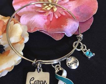 Teal and White Ribbon Charm Bracelet / Carpe Diem / Cervical Cancer Survivor / Women's Cancer Awareness
