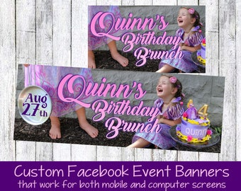 Facebook event banner custom Facebook cover for social media banner, digital file design, pop up shops, facebook birthday party invitation