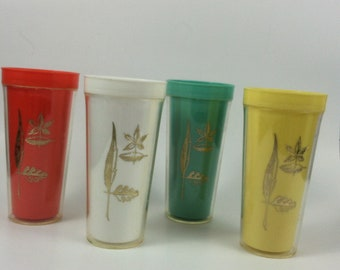Set of 4 Vintage Tumblers Cute for Picnic Retro Insulated