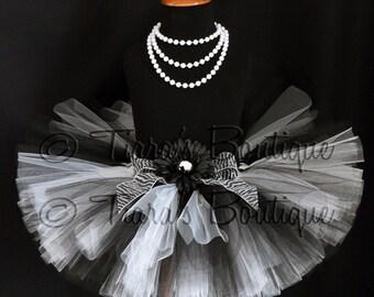 "Black and White Tutu - Harmony Tutu - Custom Sewn 8"" Tutu - sizes Newborn to 5T"