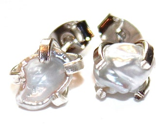 Keshi Pearl Earring Grey Earring Natural Pearl Stud Keshi Pearl Jewelry Silver Earring Modern Jewelry Keshi Earring Wedding Stud Earring