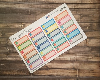 Label Square Note Reminder Quarter Box Flag 24 Stickers Multi Color Rainbow Erin Condren Planner Sticker Sheet Matte Paper #S30