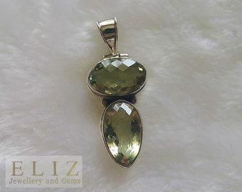 Genuine Brazilian Prasiolite Green Amethyst Sterling Silver Pendant HUGE Exclusive Gift