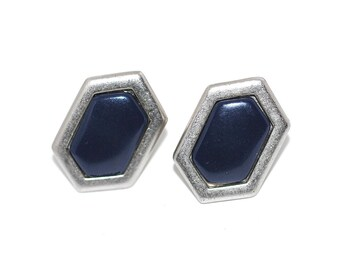 80s Yves Saint Laurent Geometric Earrings | Silver Tone with Navy Blue Resin | Runway Couture Modernist Mod YSL Jewelry 14K Posts