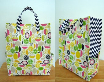 Lemon Tote, Eco Bag, Reusable Grocery Bag, Yellow Tote Bag, Carry All Bag, Kitchy Kitchen Citrus Slices, Market Tote with Pockets, Chevron