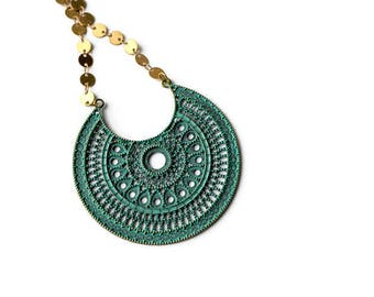 Large Medallion Pendant, Filigree Statement Necklace, Green patina Necklace, Brass Choker, Patina Jewelry
