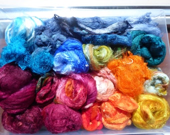 Luxury hand dyed silk selection a great mix of colour and textures - LMSP16