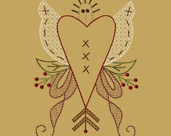 MACHINE EMBROIDERY-Angel Heart-5x7-Colorwork-Instant Download