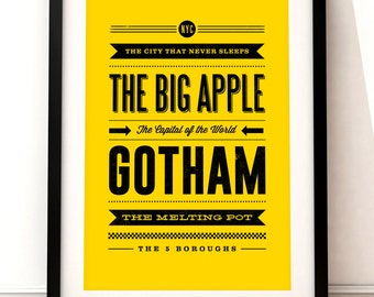 New York print, New York art print, New York inspired print, typographic print, The Big Apple, typographic art, New York poster art
