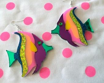 Rainbow Tropical Fish Laser Cut Earrings, Laser Cut Acrylic, Plastic Jewelry