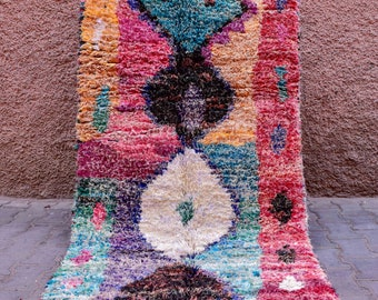 Traditionnal Moroccan Boucharouite rug handwoven by Berber women 207x100cm ref. BCT026