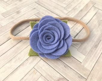 Felt flower headband - READY TO SHIP - nylon band - robins egg blue