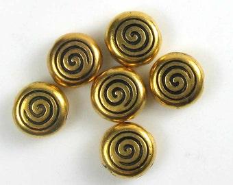 6 Gold TierraCast Spiral Beads