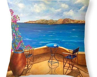Art Throw Pillow,Santorini pillow, Viktoriya Sirris art,home decor, throw art pillow, accent pillowart,sofa cough pillow, Greece throw art