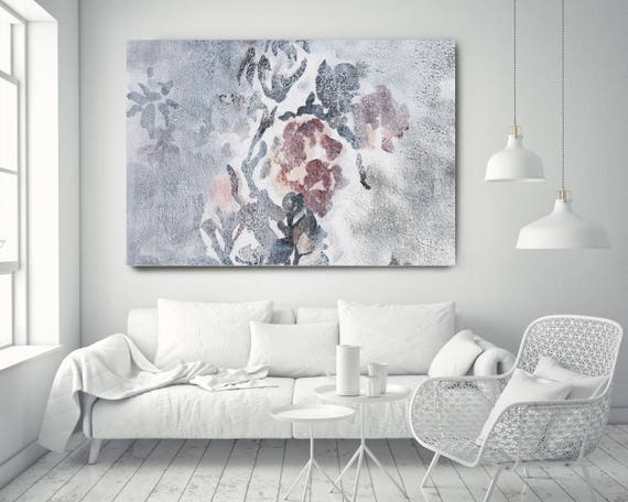 "Washed out 6. Floral Painting, Pink White Floral, Washed Large Rustic Floral Canvas Art Print up to 72"" by Irena Orlov"