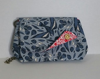 Handmade clutch w/ flap and button detail - swallows