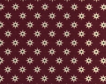 By The HALF YARD - Southcott by Kathy Hall of Winterthur Museum for Andover, #7538-R Starburst Red, White Stars with Black on Dark Red