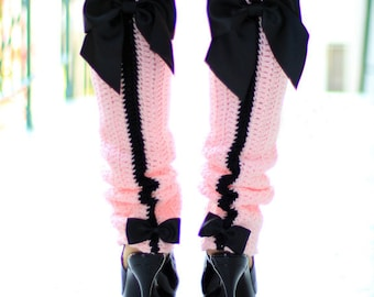 Paris Afternoon Leg Warmers - French Fashion - Pink and Black