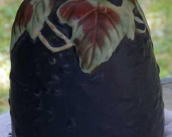 Vintage Roseville Pottery Vase in a Rich Deep Blue with a Leaf Pattern
