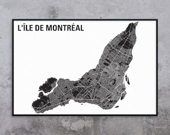 LARGE 24x36in Montreal Island Map - GRANDE Carte de l'île de Montréal - Map Art - Montreal City Map - White