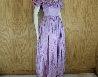 Vintage 1970's Lavender Satin Brocade Off The Shoulder Ruffle Evening Gown Formal Maxi Dress Small S / XS