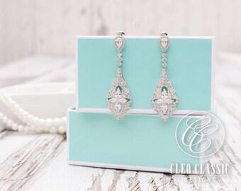 Wedding Earrings | White Gold | Rose Gold Earrings | Bridesmaid Earring | Bridal Earrings | Wedding Jewelry | Chandelier Earrings | Weddings