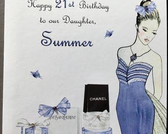 Handmade Personalised Birthday Card,Teenage Girl,Mum,Sister,Auntie,Cousin,16th,18th,21st