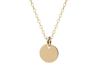 Gold Disc Necklace | 14kt gold filled | Minimalist Delicate Jewelry