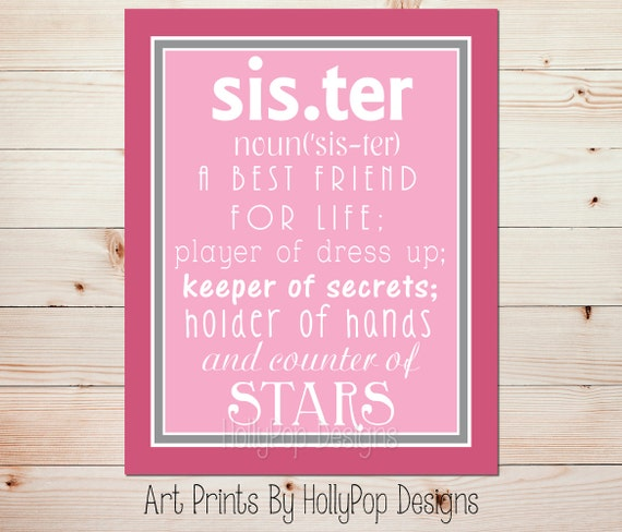 Sister definition print sisters shared bedroom art girls voltagebd Choice Image