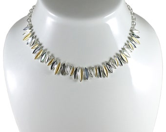 Statement necklace.Lightweight necklace.Geometric necklace.Choker necklace.Silver&Gold plated.Unique necklace.Gift for wife.Valentine gift.