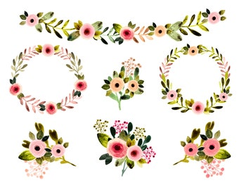 Floral clipart, watercolor flowers, vintage flowers, watercolor floral clipart, spring clipart, wedding clipart, wedding invites