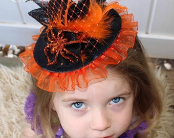 Orange and Black Couture Spider Witch Hat, Mini Halloween Witch Hat Headband, Photo Prop, Halloween Headband, Child Witch Hat, Girl's Hat
