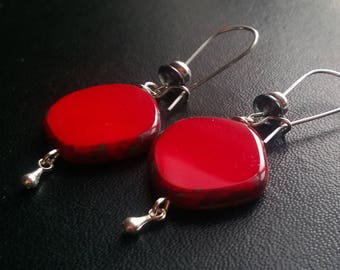 Red Picasso Czech glass earrings