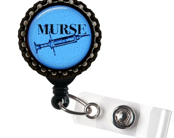 Murse - Blue and Black Retractable Badge Reel ID Holder