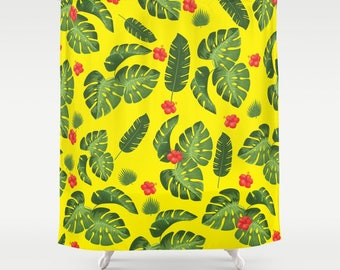 Tropical leaves shower curtain-Cool plants shower curtain-Mid century modern-Yellow shower curtain-Monstera-Modern Curtain-Colourful bath