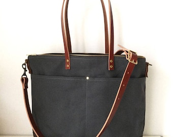 SALE 34 OFF | REG. 170usd | Carrier Tote | Best for Diaper Bag, Laptop, Travel | Wax Canvas Leather | Zipper | 6 Pockets | Charcoal Grey