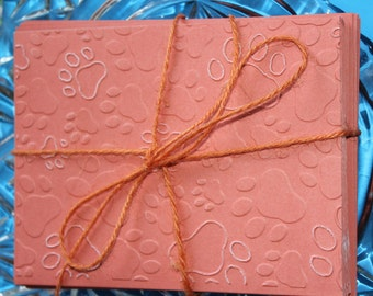 Paw Print Embossed Coral Note Cards Set of 6