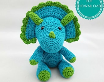 PDF PATTERN DOWNLOAD - Walter the Triceratops Amigurumi Dinosaur Pattern Download