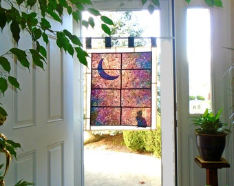 Cat, Moon & Northern Lights ~ Bleached Art Batik Stained Glass-Look Fabric Pojagi Window Treatment / dorm / cafe curtain