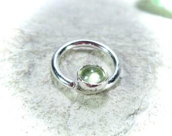 Septum Ring Silver Peridot Gemstone - Septum Ring, Gemstone Septum Ring, Nipple Ring, Silver Septum Ring, Nipple Jewelry, Nose Jewellery