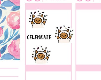 Celebrate, Celebration Cats | Planner Stickers |
