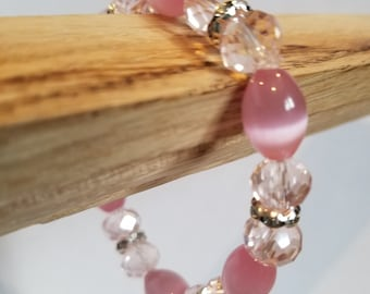 Pink cut glass beaded stretch bracelet