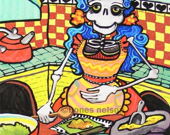 La Catrina Tamales!  Day of the Dead Art JPG for Printing up to Poster Sized