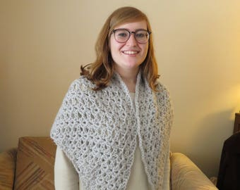 Light gray alpaca triangle shawl