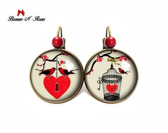 My heart Valentine gift red bird cabochon caged earrings Valentine earrings