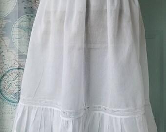 Romantic Heirloom lace Cotton Voile Feminine underskirt half slip vintage style, Boho Country, Bride or Bridesmaid petticoat