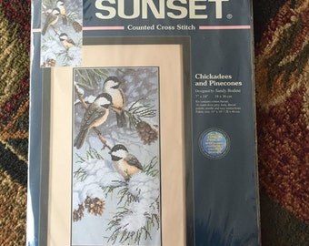 Chickadees and Pinecones Counted Cross Stitch