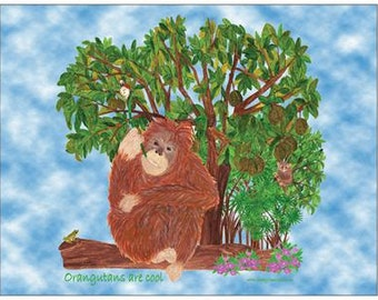 Orangutans are cool note cards
