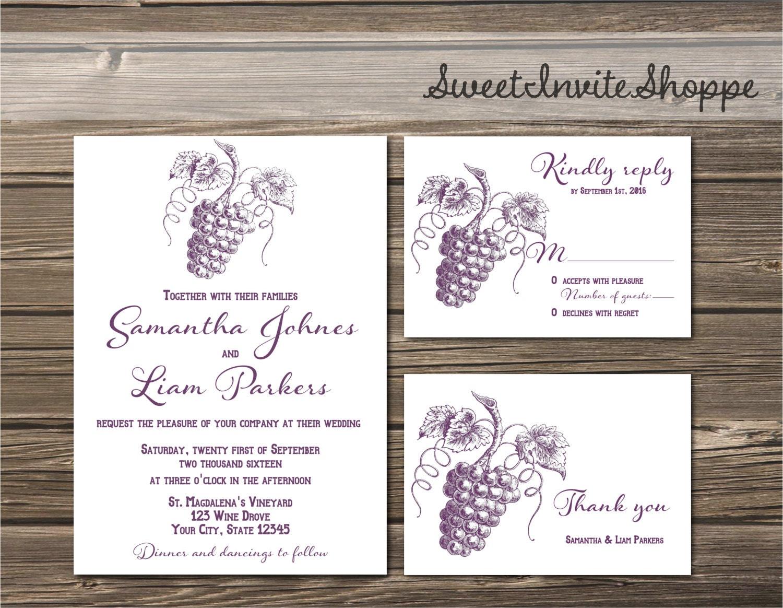 Vineyard Wedding Invitation Winery Wedding Invitation Set